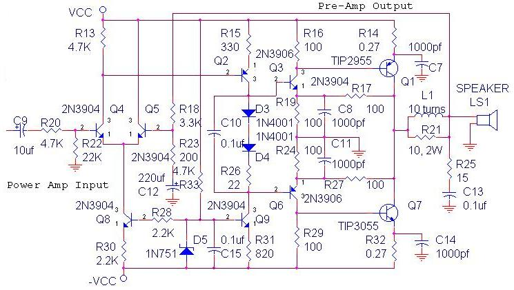 build a 70 watt ocl amplifier circuit diagram schematic rise70 watt ocl amplifier circuit diagram