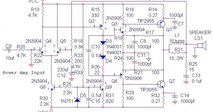 70 watt ocl amplifier wiring diagram schematic