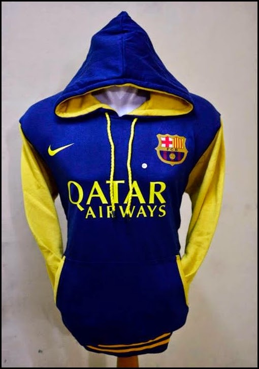 New Jumper Hoodie Bola Kombinasi 2014 - 2015 Barcelona (biru kombinasi kuning)