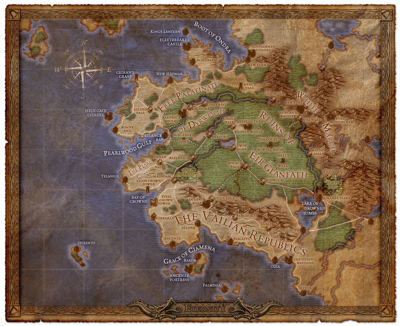 obsidian have released a new map of the world where the game is set which is promised to be a traditional fantasy world with a few twists such as the