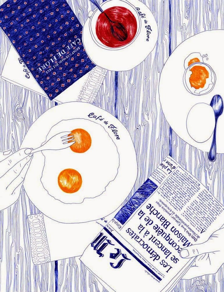 breakfast with the morning papers illustration by Carine Brancowitz