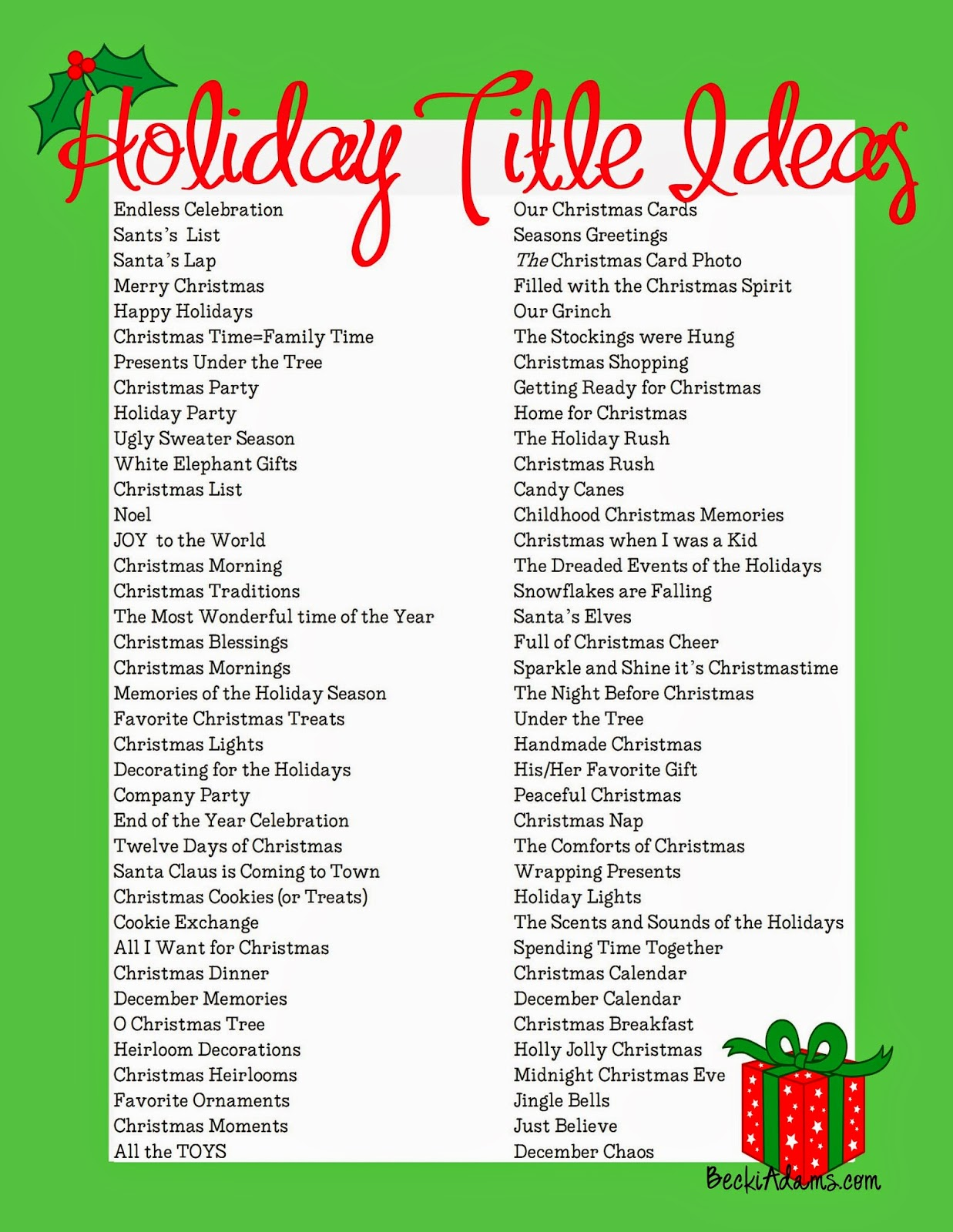 Becki Adams 76 Holiday Page Title Ideas