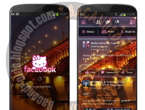 Download Aplikasi Facebook Mod Tema sudah jadi Transpan Hellokitty Apk