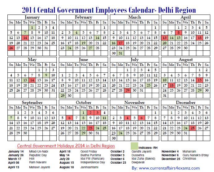 Calendar Government : Central government employees holiday calendar pdf
