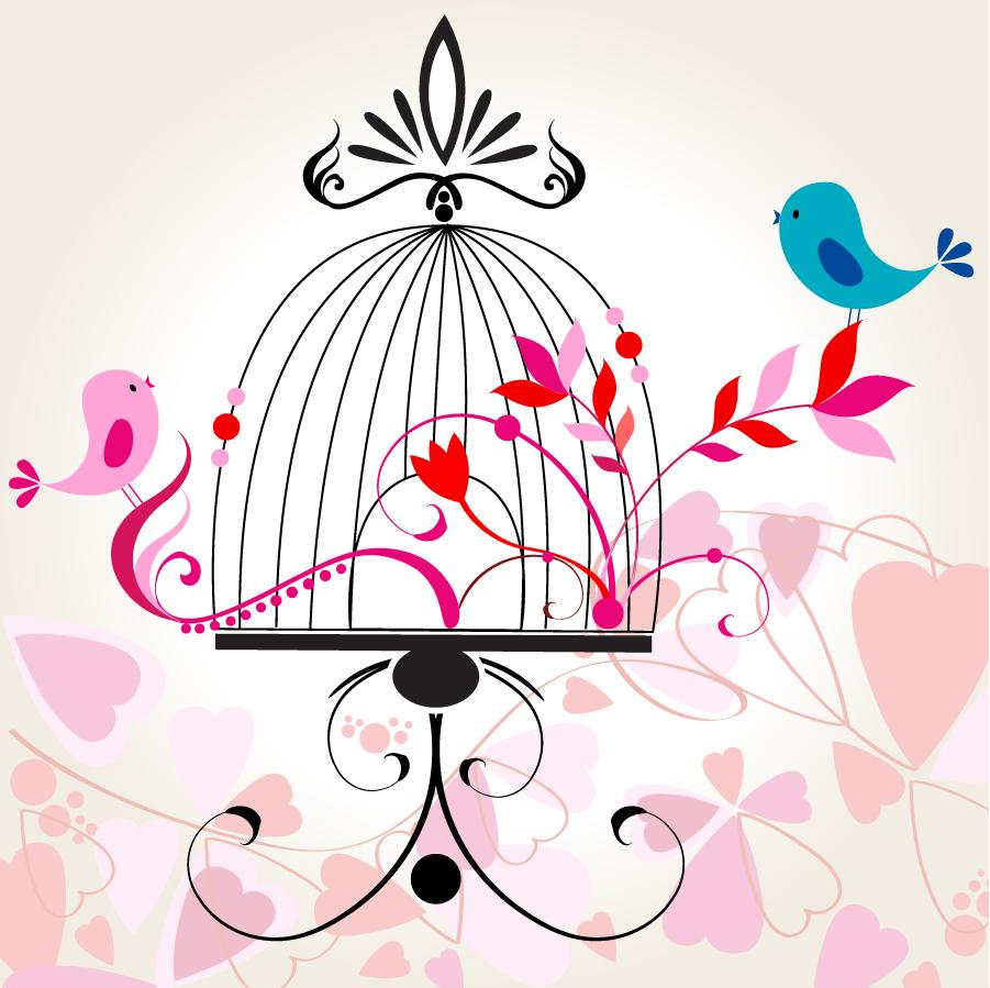 籠の鳥の背景 Romantic cartoon handpainted birds イラスト素材