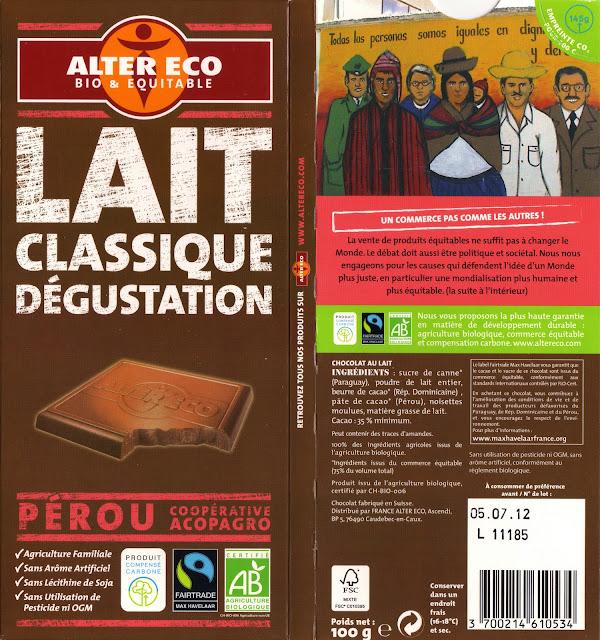 tablette de chocolat lait dégustation alter eco pérou lait classique dégustation