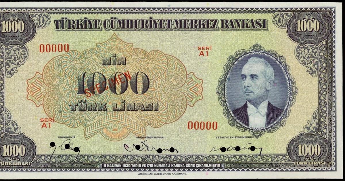 Turkey 1000 Turkish Lira banknote 1946 İsmet İnönü|World Banknotes & Coins Pictures | Old Money ...