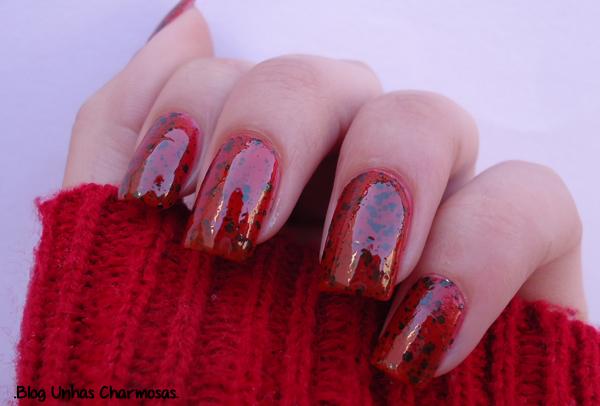 esmalte, esmalte Morango Dote, esmalte salpicado, Coleção Efeito Salpicado, Coleção Efeito Salpicado Dote, esmalte com o efeito speckled, esmalte de glitter, esmalte pulguentinho, esmalte vermelho, esmalte para o inverno