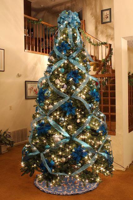 Arboles navideños en azul