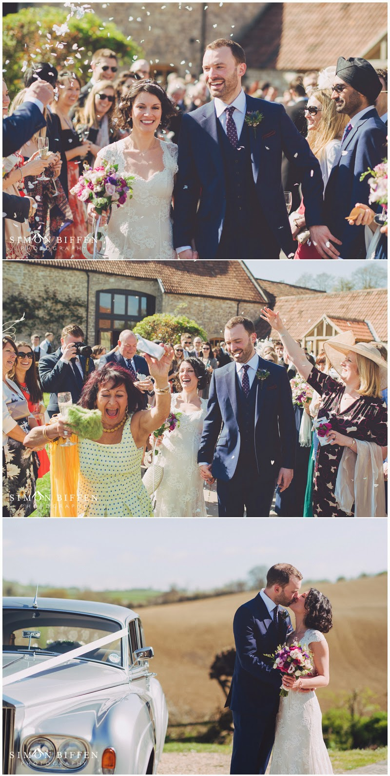 confetti at Priston Mill wedding