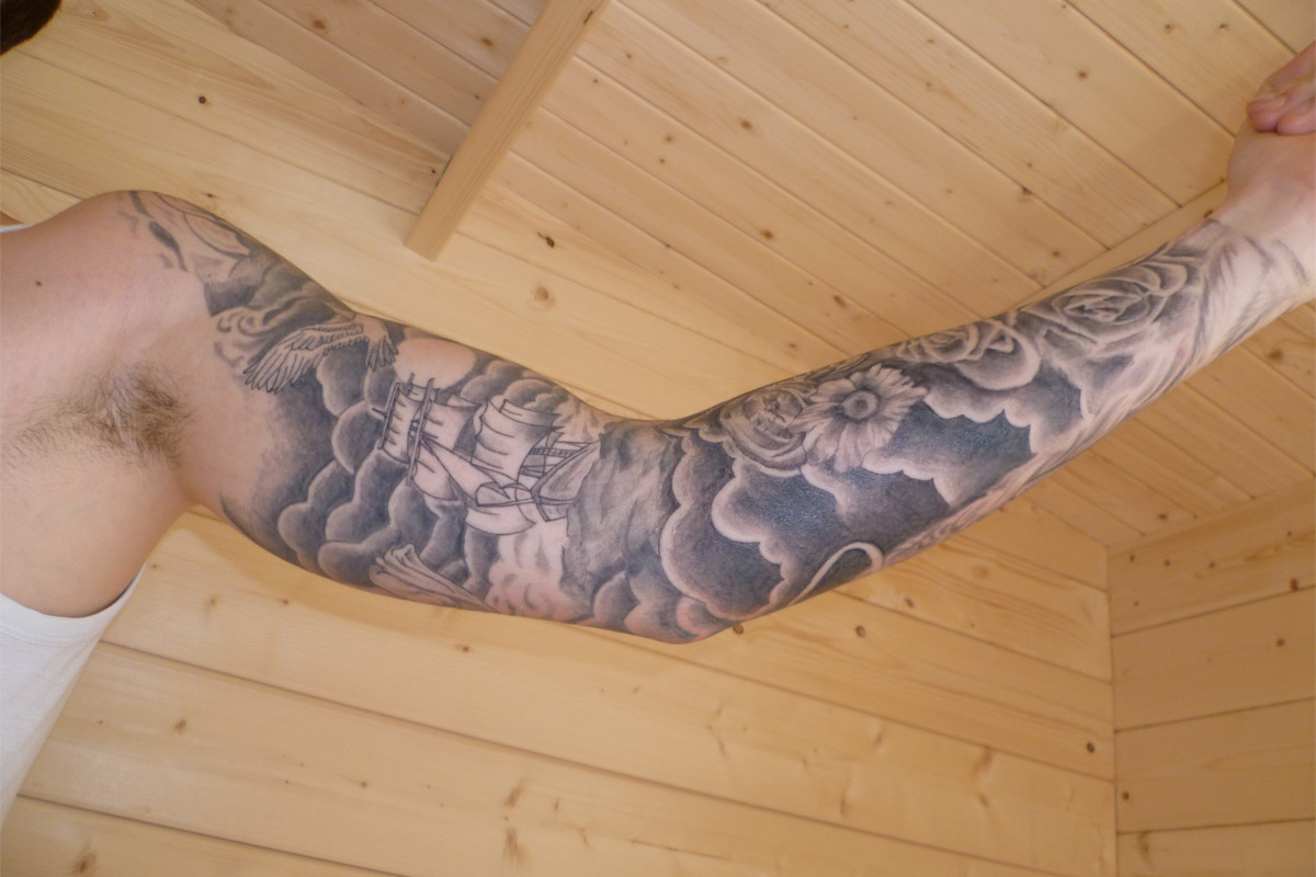 sleeve tattoo ideas cloud sleeve tattoo. Black Bedroom Furniture Sets. Home Design Ideas