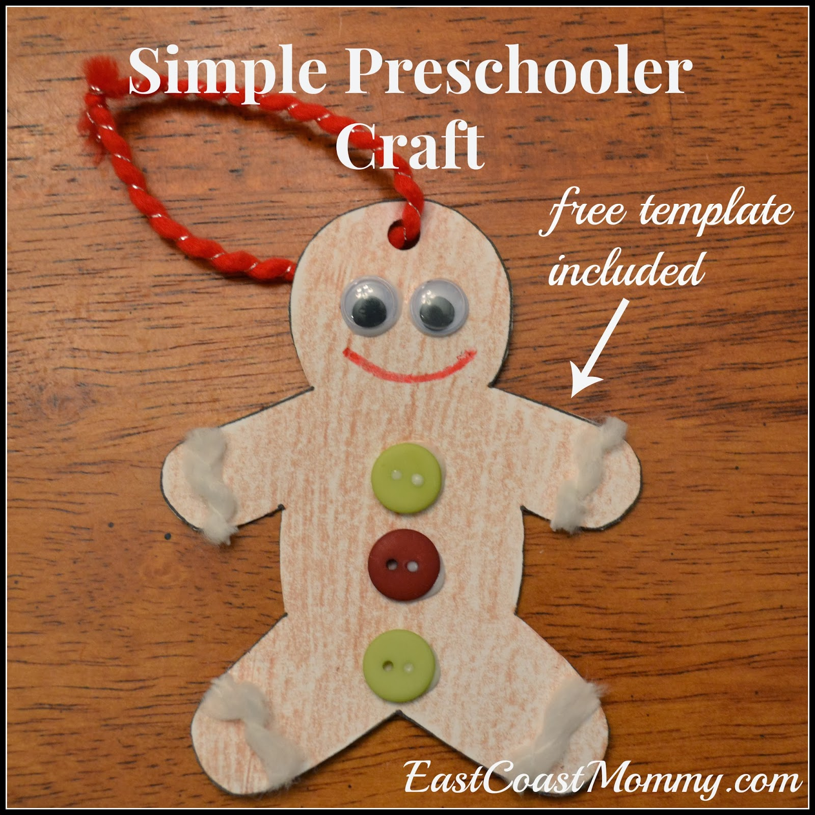 Gingerbread man ornament craft - Simple Gingerbread Man Ornament Preschooler Craft
