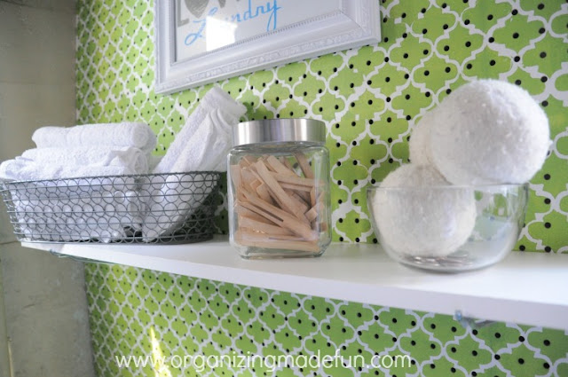 Darling shelf on pegboard wall | OrganizingMadeFun.com