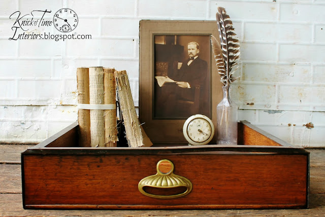 Antique Wooden Office Drawer with Brass Drawer Pull via KnickofTimeInteriors.blogspot.com