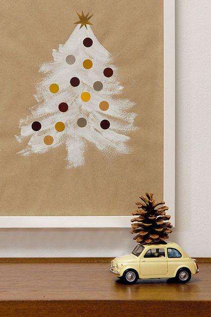faça uma árvore de natal num quadro