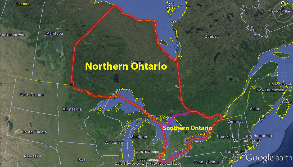map of southern canada and northern us