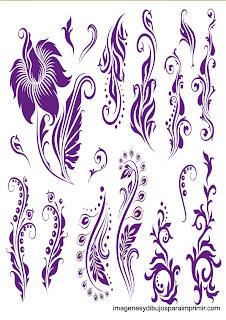 Bordes violetas florales para imprimir