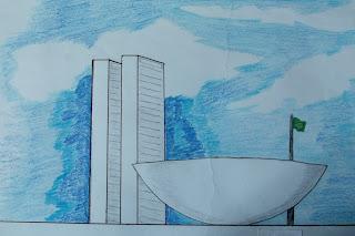 Brasilia em fundo azul