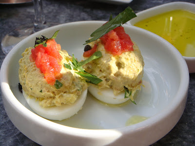 Deviled eggs with tuna at Oleana, Cambridge, Mass.