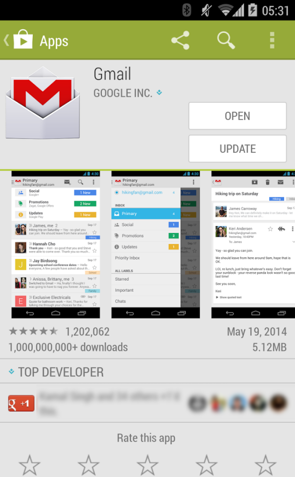Android 4.4.3 Gmail Update