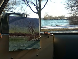 painting in the car, Goat Island, Schifano