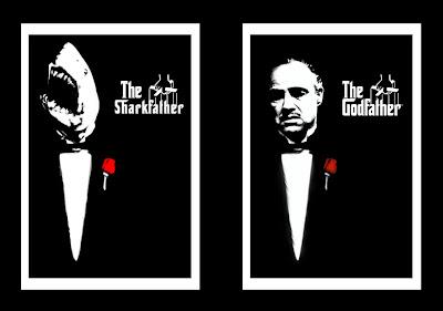 parodie affiches de films avec des requins le parrain
