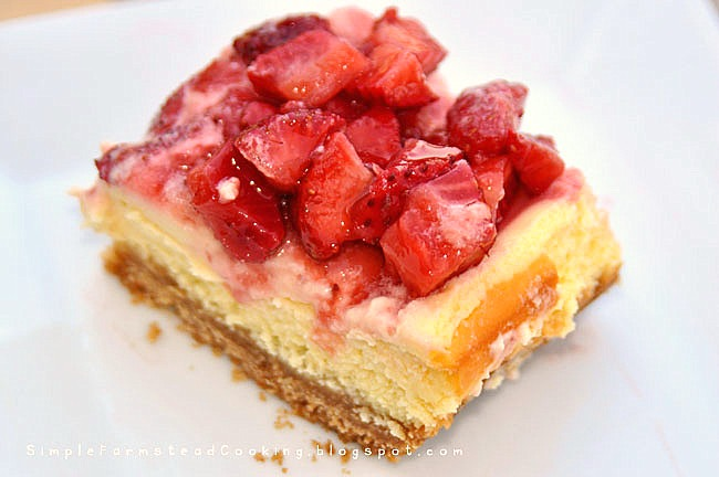 Simple Farmstead Cooking: Strawberry Cheesecake Bars
