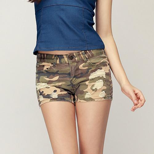 Distressed Denim Camo Shorts