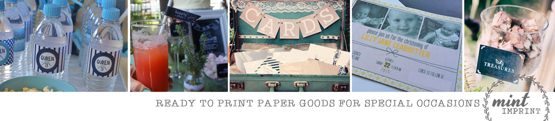 Mint Imprint :: ready-to-print Party Invitations + Personalised Décor