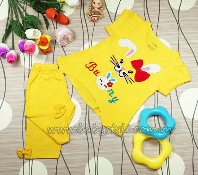 Đồ bộ Bunny in hình thỏ dành cho bé gái màu vàng
