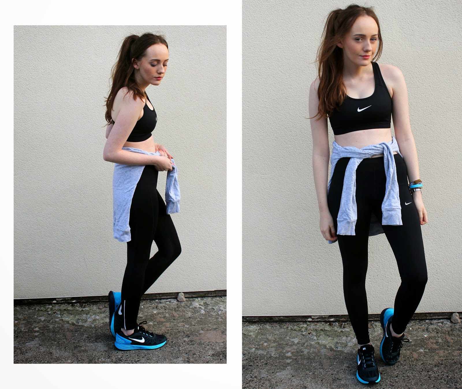 nike sports bra and leggings from JD sports, nike lunar glide blue and black trainers from millets fashion blogger review