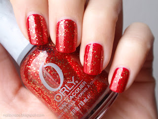 Orly Devil May Care over Essie Jag-u-are red glitter