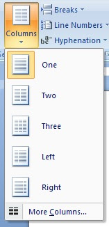 word pagesetup column