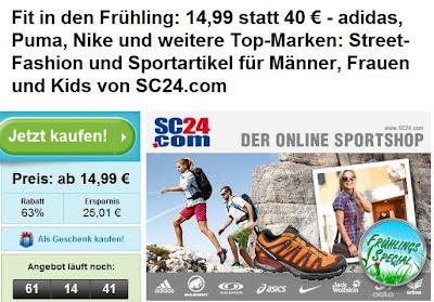 Fit in den Frühling mit Groupon: 40€-SC24.com-Gutschein für 14,99€ (oder 60€-Gutschein für 24,99 Euro)