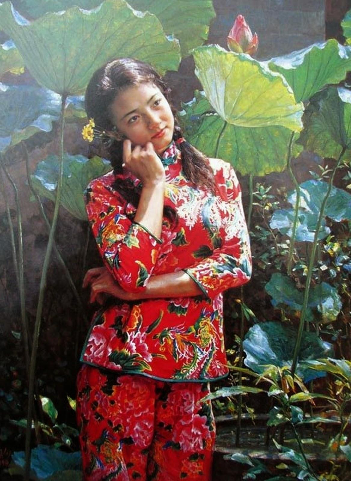 cuadros-de-mujeres-chinas-paisajes
