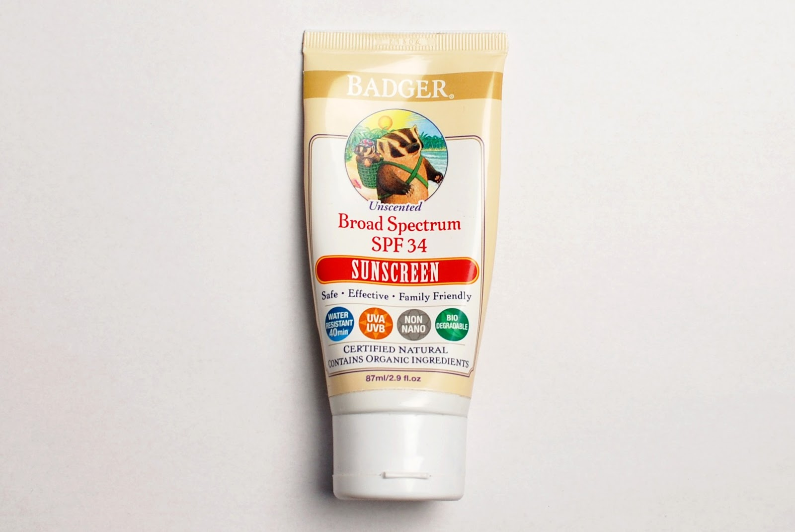 Badger Sunscreen SPF 34, Unscented