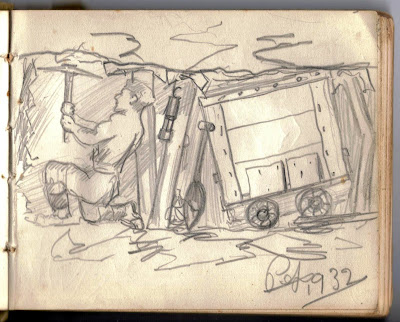 Drawing of working in a coal mine in nort-east England
