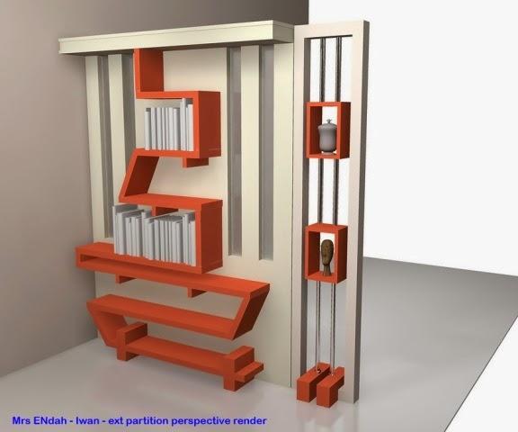Sekat Ruang Tamu Sebagai Rak Buku