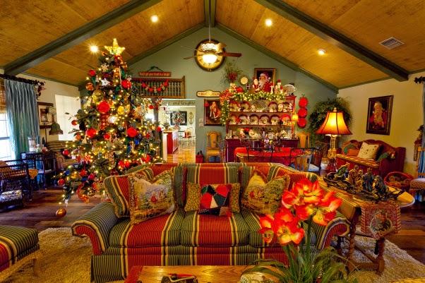 Salas r sticas decoradas por navidad salas con estilo for Decoracion navidena rustica