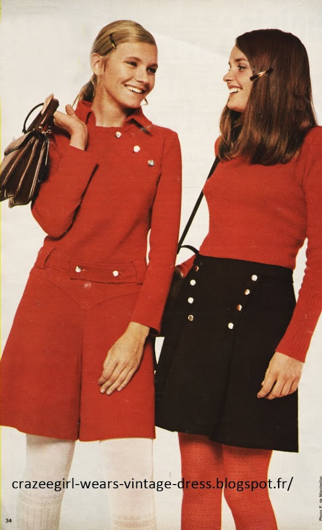 Red Romper , Black skirt - 1967 Nicole Nataf Harry lans 60s1960