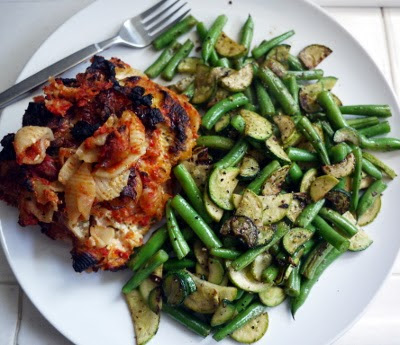 baked shells with basil ricotta garlic sauteed green beans and zucchini