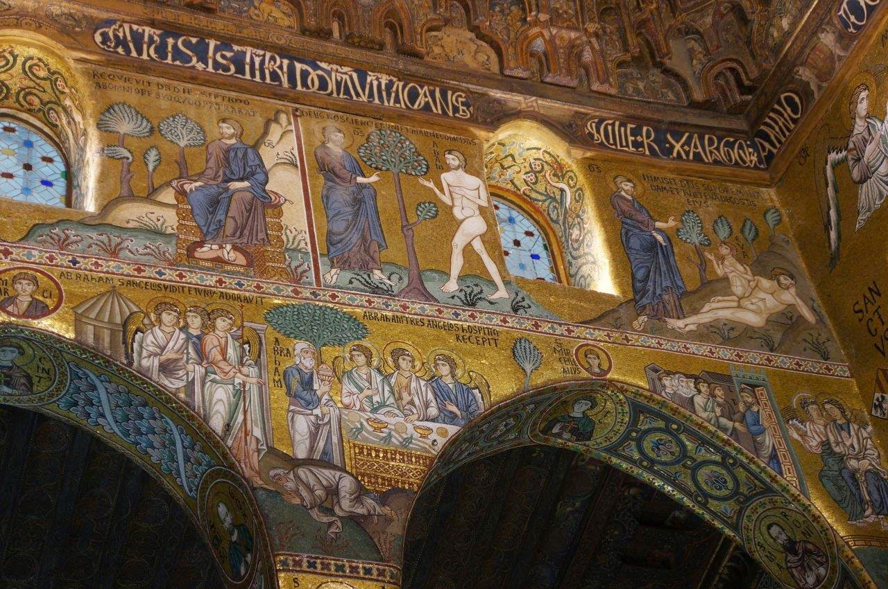 Inside the beautiful Cappella Palatina in Palermo Sicility Italy.