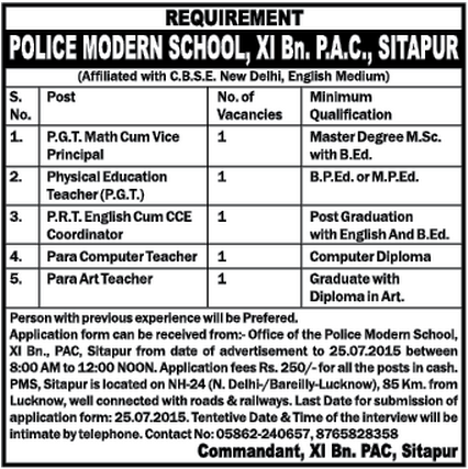 Sitapur Police Modern School XI Bn. P.A.C latest Jobs Advertisement July 2015