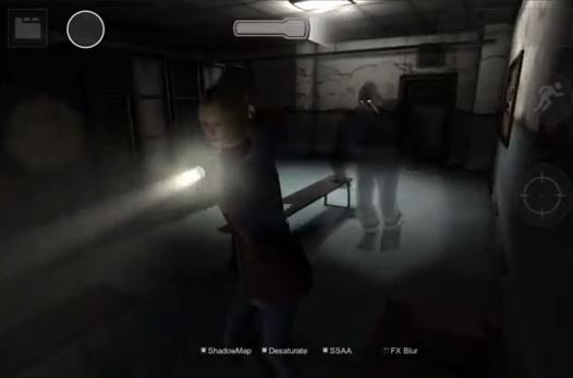 Screenshot of video game Forgotten Memories with protagonist holding a flashlight and monster behind her.