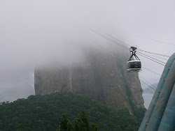 Upper SugarLoaf Mountain with cable car emerging from fog, Rio de Janeiro