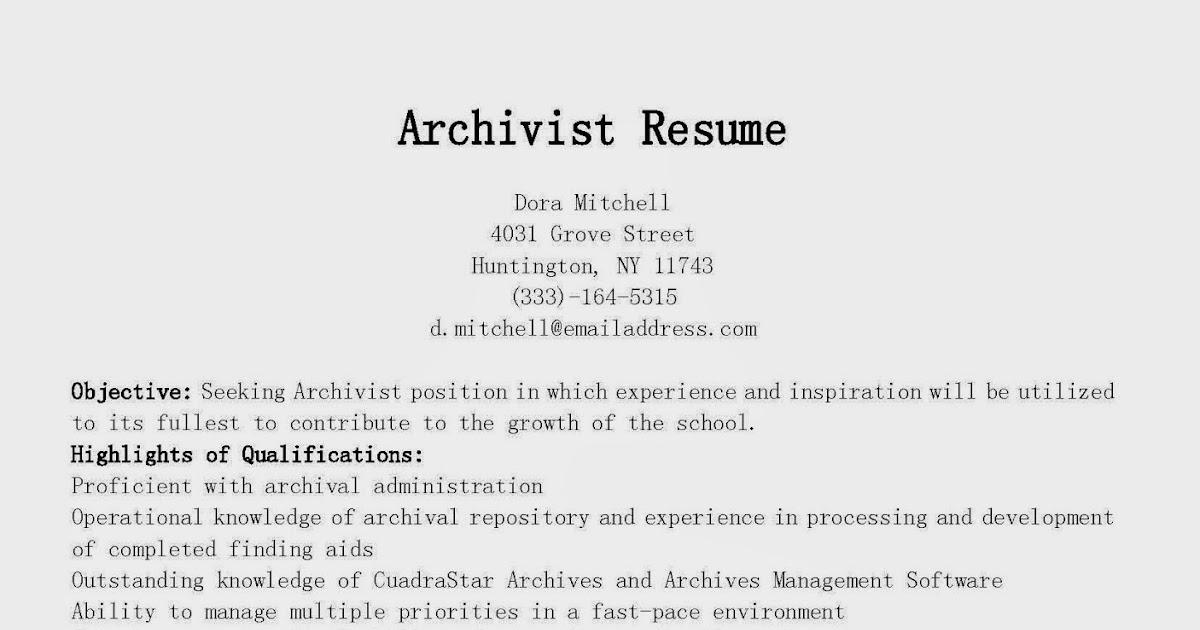 resume samples  archivist resume sample