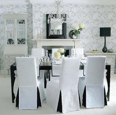 diseño de comedor blanco negro