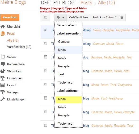 Labels Kategorie löschen Blogger Blogspot