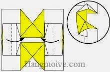 Bước 7: Gấp hai cạnh giấy vào trong.