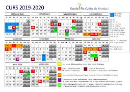 El calendari de l'escola